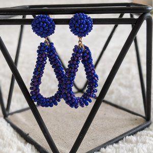 Lulu Blue Beaded Statement Earrings